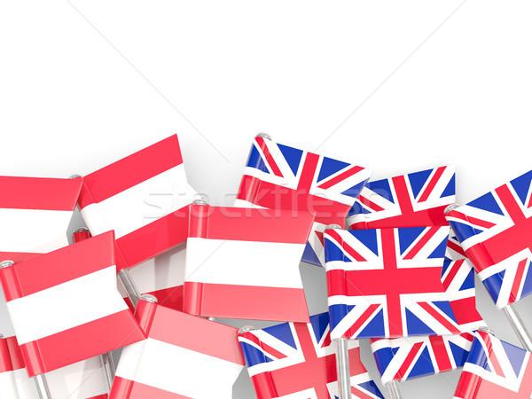 Flag pins of Austria and UK isolated on white Stock photo © MikhailMishchenko