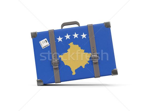 Luggage with flag of kosovo. Suitcase isolated on white Stock photo © MikhailMishchenko