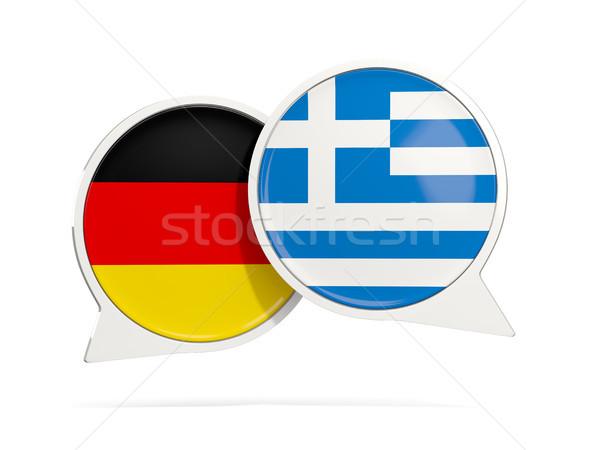 Chat bulles Allemagne Grèce isolé blanche Photo stock © MikhailMishchenko