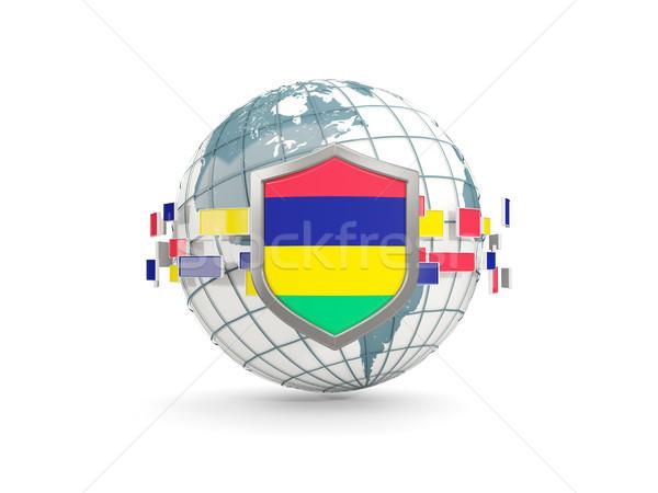 świecie tarcza banderą Mauritius odizolowany biały Zdjęcia stock © MikhailMishchenko