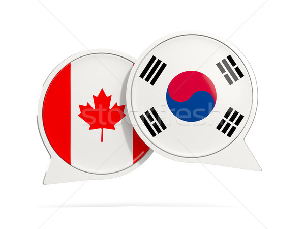 Conversar bubbles Canadá Coréia do Sul isolado branco Foto stock © MikhailMishchenko