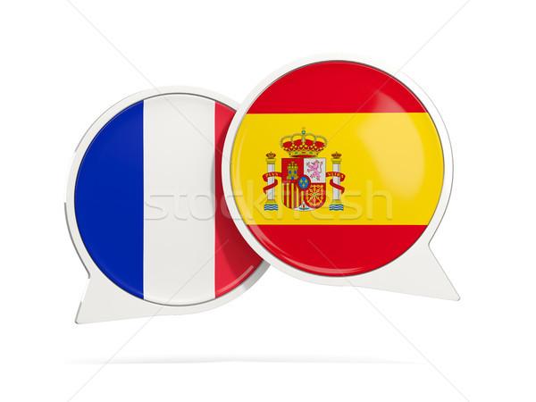 Foto stock: Conversar · bubbles · França · Espanha · isolado · branco