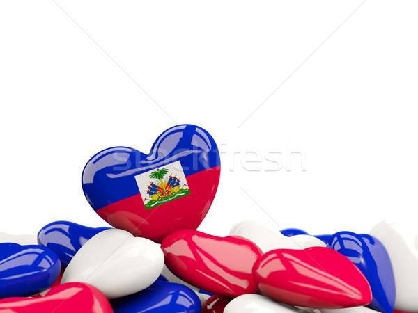 Kalp bayrak Haiti üst kalpler yalıtılmış Stok fotoğraf © MikhailMishchenko
