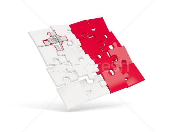 Rompecabezas bandera Malta aislado blanco 3d Foto stock © MikhailMishchenko
