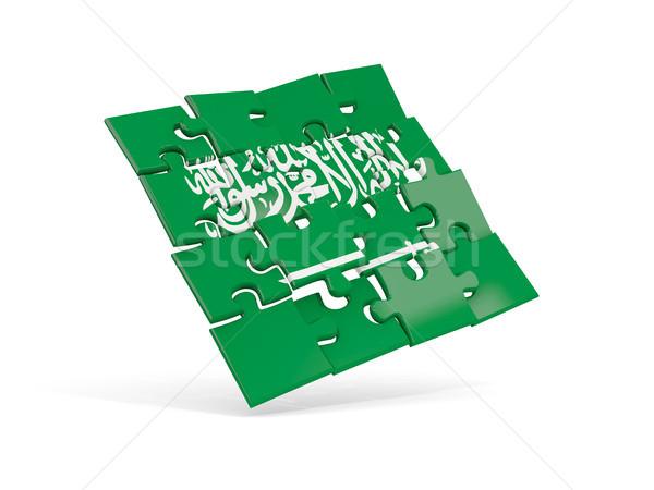 Bilmece bayrak Suudi Arabistan yalıtılmış beyaz 3d illustration Stok fotoğraf © MikhailMishchenko