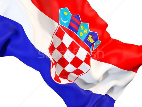Bandiera Croazia primo piano illustrazione 3d viaggio Foto d'archivio © MikhailMishchenko