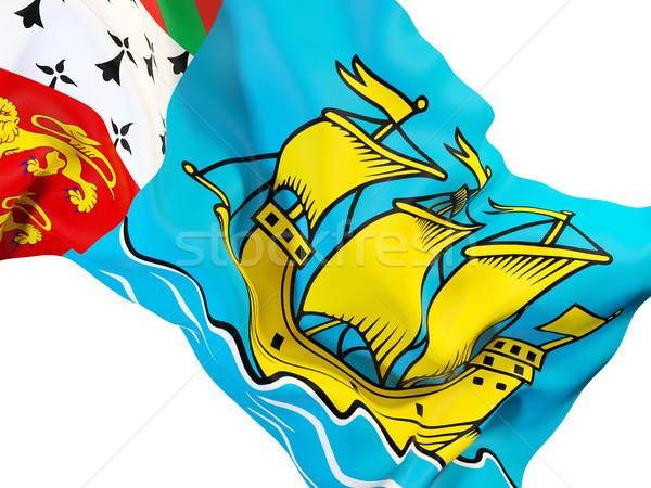 Waving flag of saint pierre and miquelon Stock photo © MikhailMishchenko