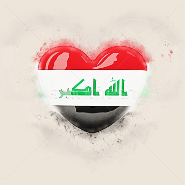 Hart vlag Irak grunge 3d illustration reizen Stockfoto © MikhailMishchenko