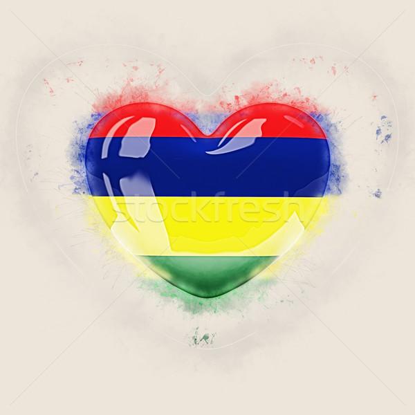 Serca banderą Mauritius grunge 3d ilustracji miłości Zdjęcia stock © MikhailMishchenko