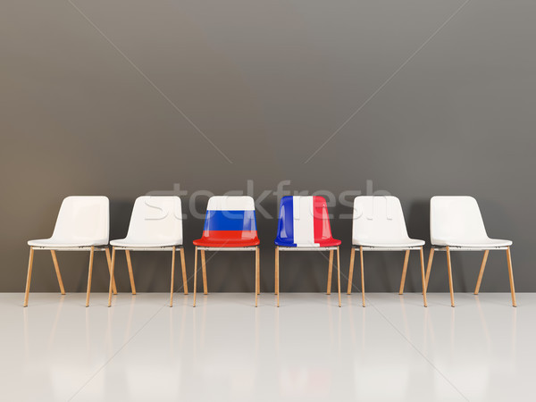 Chairs with flag of Russia and france Stock photo © MikhailMishchenko