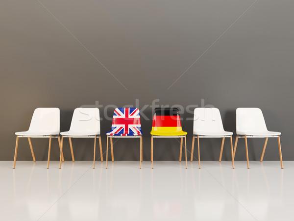 Sedie bandiera Regno Unito Germania fila illustrazione 3d Foto d'archivio © MikhailMishchenko
