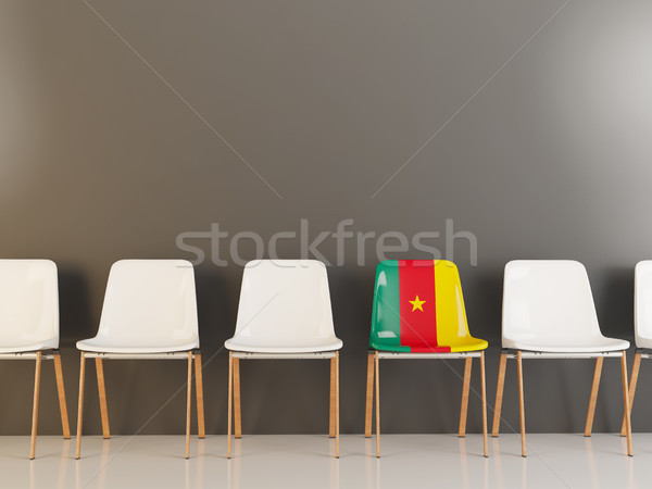 Stoel vlag Kameroen rij witte stoelen Stockfoto © MikhailMishchenko
