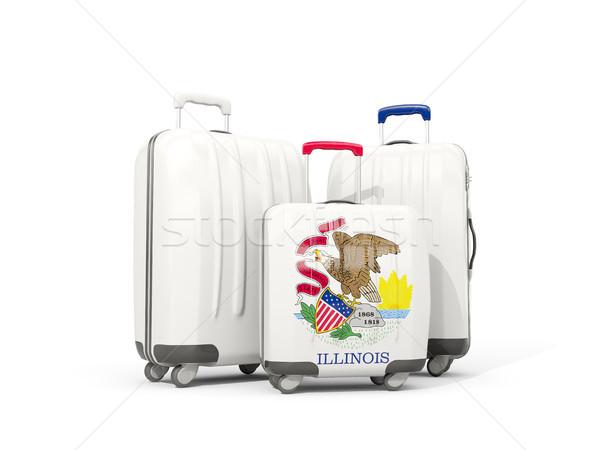 Bagages pavillon Illinois trois sacs États-Unis Photo stock © MikhailMishchenko