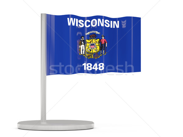 Flag pin with flag of wisconsin. United states local flags Stock photo © MikhailMishchenko