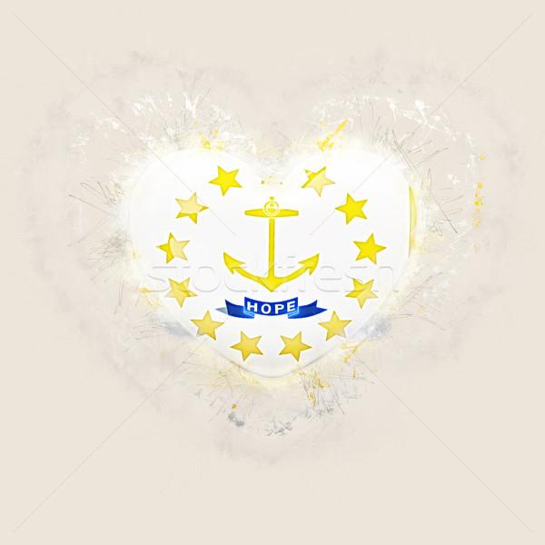 rhode island state flag on a grunge heart. United states local f Stock photo © MikhailMishchenko
