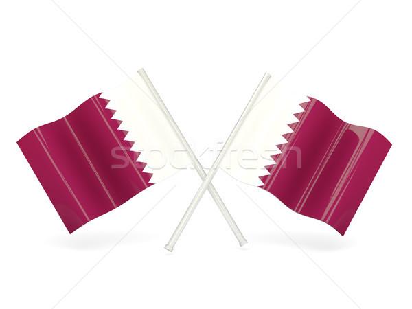 Banderą Katar dwa falisty flagi odizolowany Zdjęcia stock © MikhailMishchenko