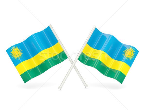 Pavillon Rwanda deux ondulés drapeaux isolé Photo stock © MikhailMishchenko