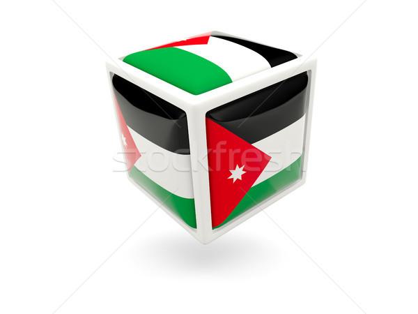Bandeira Jordânia cubo ícone isolado branco Foto stock © MikhailMishchenko