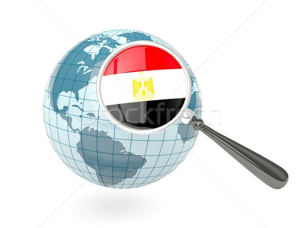 Magnified flag of egypt with blue globe Stock photo © MikhailMishchenko