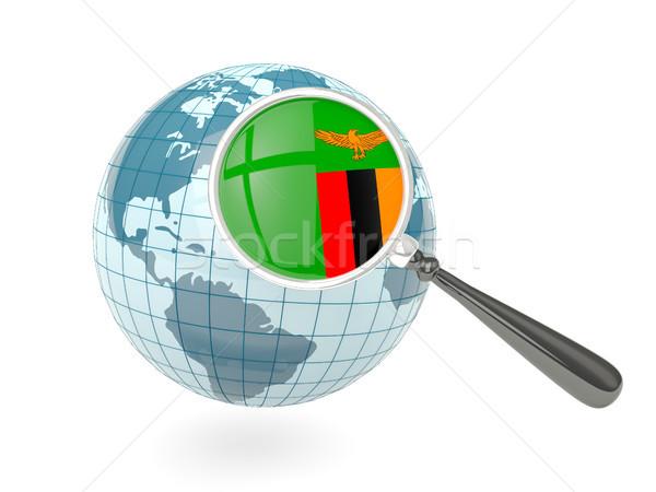 Stock fotó: Nagyított · zászló · Zambia · kék · földgömb · izolált