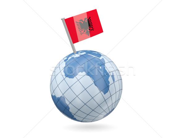 Mundo bandera Albania azul aislado blanco Foto stock © MikhailMishchenko