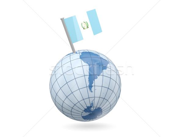 Globo bandeira Guatemala azul isolado branco Foto stock © MikhailMishchenko