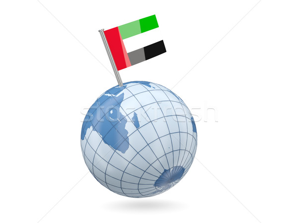 Globo bandeira Emirados Árabes Unidos azul isolado branco Foto stock © MikhailMishchenko