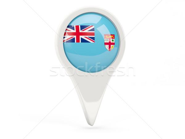 Zászló ikon Fidzsi-szigetek izolált fehér térkép Stock fotó © MikhailMishchenko