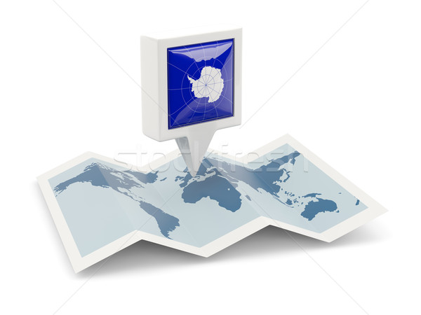 Square pin with flag of antarctica on the map Stock photo © MikhailMishchenko
