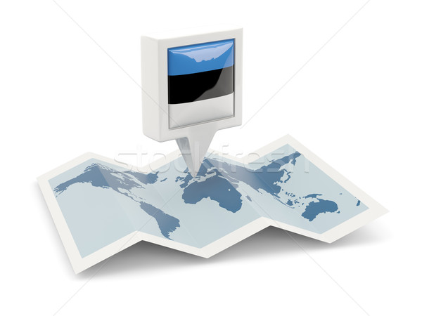 Square pin with flag of estonia on the map Stock photo © MikhailMishchenko