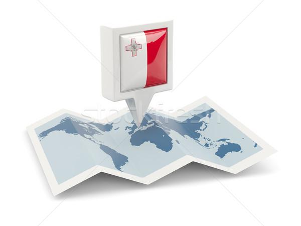 Cuadrados pin bandera Malta mapa viaje Foto stock © MikhailMishchenko