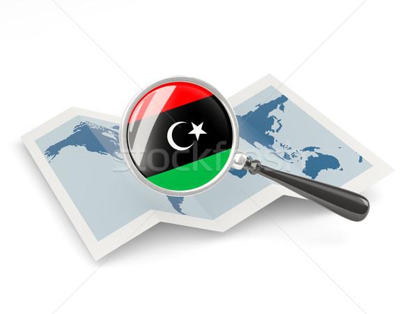 Banderą Libia Pokaż podróży Zdjęcia stock © MikhailMishchenko