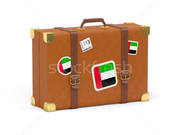 Mala bandeira Emirados Árabes Unidos viajar isolado branco Foto stock © MikhailMishchenko