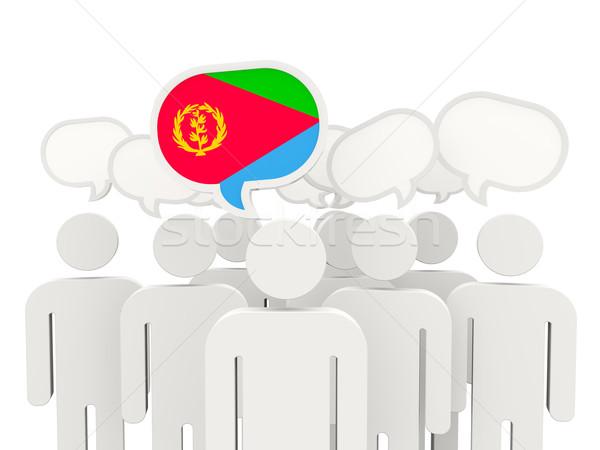 Ludzi banderą Erytrea odizolowany biały spotkanie Zdjęcia stock © MikhailMishchenko