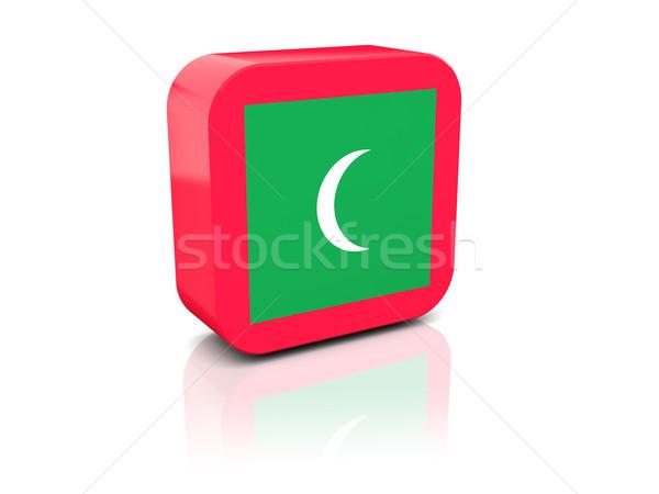 Placu ikona banderą Malediwy refleksji biały Zdjęcia stock © MikhailMishchenko