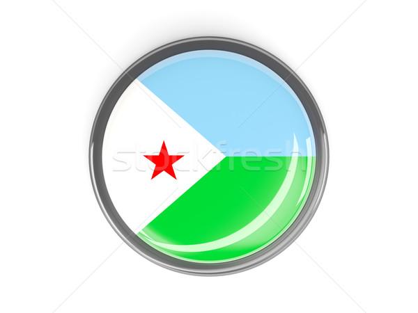 Przycisk banderą Dżibuti metal ramki podróży Zdjęcia stock © MikhailMishchenko