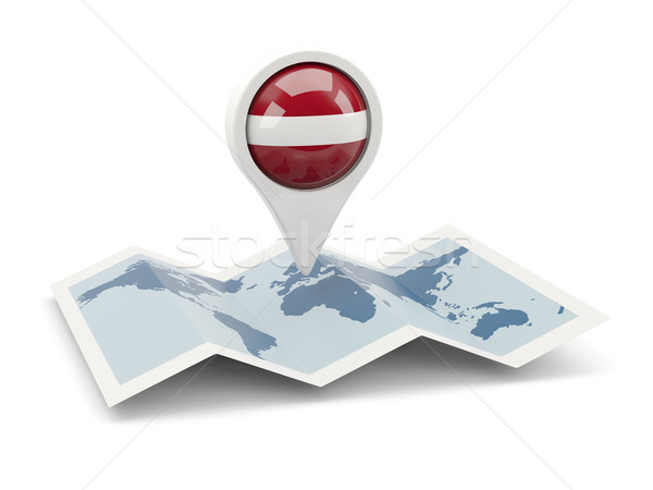 Pin флаг Латвия карта путешествия белый Сток-фото © MikhailMishchenko