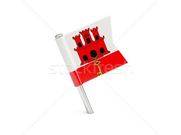 Banderą pin gibraltar odizolowany biały wyszukiwania Zdjęcia stock © MikhailMishchenko
