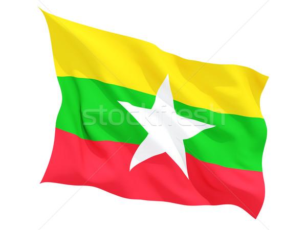Bayrak Myanmar yalıtılmış beyaz Stok fotoğraf © MikhailMishchenko