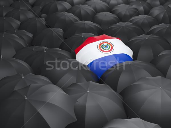 Esernyő zászló Paraguay fekete esernyők eső Stock fotó © MikhailMishchenko