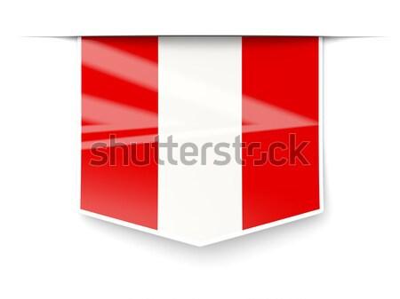 Cuadrados etiqueta bandera Perú aislado blanco Foto stock © MikhailMishchenko