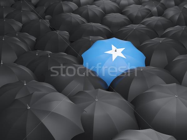 Parapluie pavillon Somalie noir parapluies pluie Photo stock © MikhailMishchenko