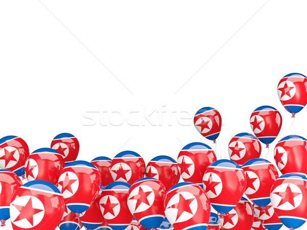 Flying balloons with flag of korea north Stock photo © MikhailMishchenko