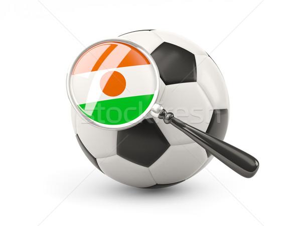 Fútbol ampliada bandera Níger aislado blanco Foto stock © MikhailMishchenko