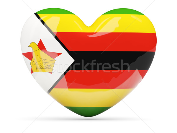 Heart shaped icon with flag of zimbabwe Stock photo © MikhailMishchenko