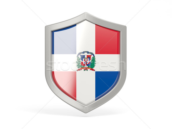 Shield icon with flag of dominican republic Stock photo © MikhailMishchenko