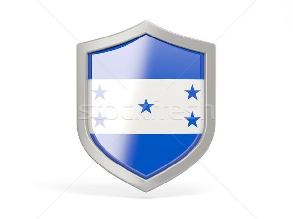 Escudo ícone bandeira Honduras isolado branco Foto stock © MikhailMishchenko