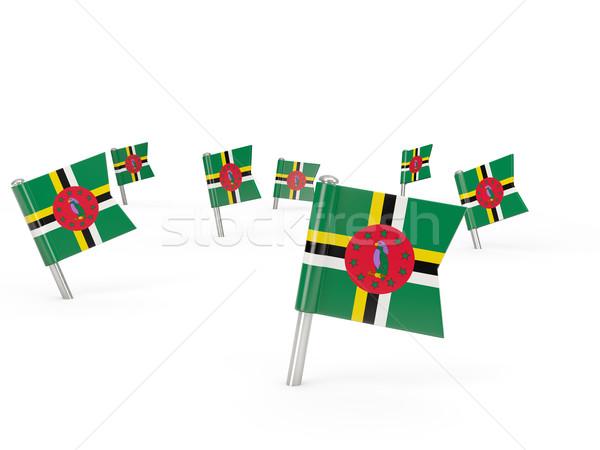квадратный флаг Доминика изолированный белый стране Сток-фото © MikhailMishchenko