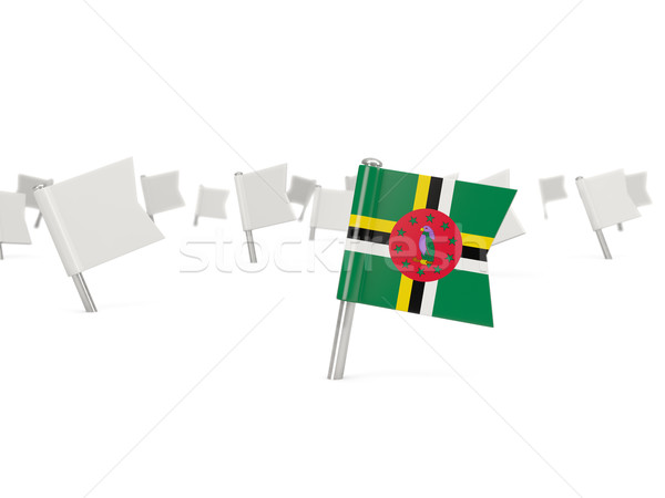 Praça pin bandeira Dominica isolado branco Foto stock © MikhailMishchenko