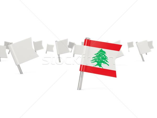 Tér tő zászló Libanon izolált fehér Stock fotó © MikhailMishchenko